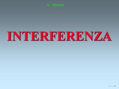 INTERFERENZA A. Martini Supponiamo di avere due sorgenti di onde, puntiformi, in fase, di uguale lunghezza donda.