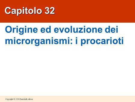 Copyright © 2006 Zanichelli editore Capitolo 32 Origine ed evoluzione dei microrganismi: i procarioti.