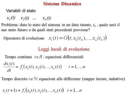 Variabili di stato x 1 x 2 … x n (t) Problema: dato lo stato del sistema in un dato istante, t 0, quale sarà il suo stato futuro e da quali stati precedenti.