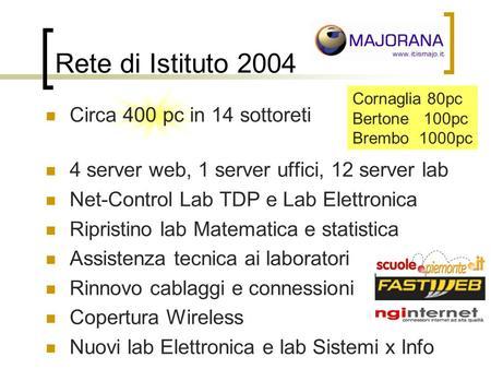Rete di Istituto 2004 Circa 400 pc in 14 sottoreti 4 server web, 1 server uffici, 12 server lab Net-Control Lab TDP e Lab Elettronica Ripristino lab Matematica.