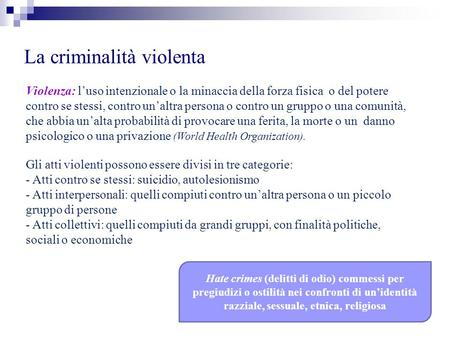 La criminalità violenta Violenza: luso intenzionale o la minaccia della forza fisica o del potere contro se stessi, contro unaltra persona o contro un.