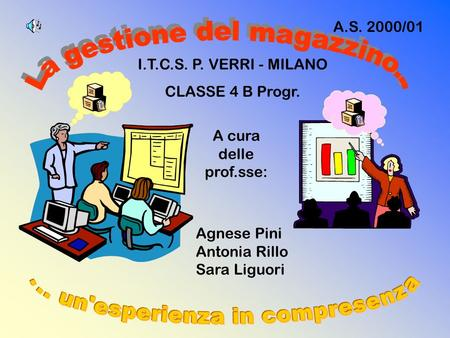 I.T.C.S. P. VERRI - MILANO CLASSE 4 B Progr. Agnese Pini Antonia Rillo Sara Liguori A cura delle prof.sse: A.S. 2000/01.