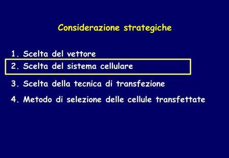 Considerazione strategiche 2. Scelta del sistema cellulare 3. Scelta della tecnica di transfezione 4. Metodo di selezione delle cellule transfettate 1.