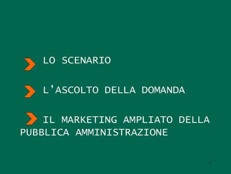 LO SCENARIO LASCOLTO DELLA DOMANDA IL MARKETING AMPLIATO DELLA PUBBLICA AMMINISTRAZIONE 1.