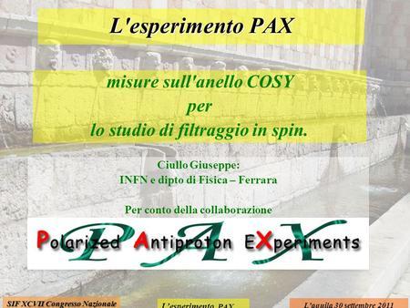 Lesperimento PAX Laquila 30 settembre 2011 SIF XCVII Congresso Nazionale misure sull'anello COSY per lo studio di filtraggio in spin. L'esperimento PAX.