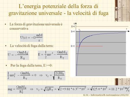 G.M. - Informatica B-Automazione 2002/03 Lenergia potenziale della forza di gravitazione universale - la velocità di fuga La forza di gravitazione universale.