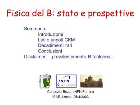 Fisica del B: stato e prospettive Concezio Bozzi, INFN Ferrara IFAE, Lecce, 25/4/2003 Sommario: Introduzione Lati e angoli CKM Decadimenti rari Conclusioni.