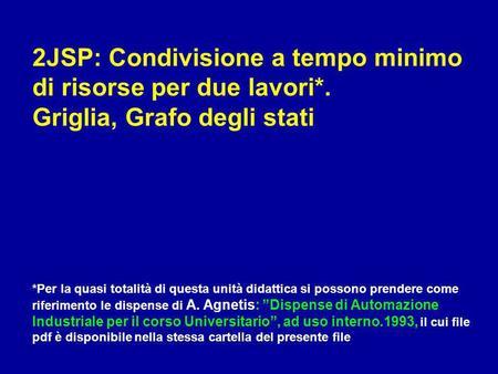 2JSP: Condivisione a tempo minimo di risorse per due lavori*. Griglia, Grafo degli stati *Per la quasi totalità di questa unità didattica si possono prendere.