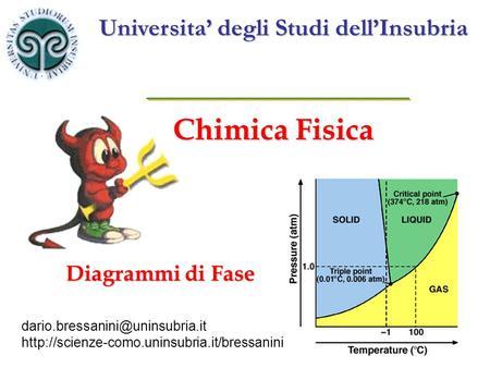 Chimica Fisica Universita' degli Studi dell'Insubria Diagrammi di Fase