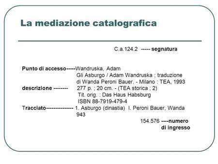 La mediazione catalografica C.a.124.2 ----- segnatura Punto di accesso-----Wandruska, Adam Gli Asburgo / Adam Wandruska ; traduzione di Wanda Peroni Bauer.