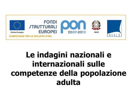 Le indagini nazionali e internazionali sulle competenze della popolazione adulta.