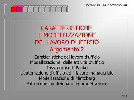 FONDAMENTI DI INFORMATICA III A2-1 CARATTERISTICHE E MODELLIZZAZIONE DEL LAVORO DUFFICIO Argomento 2 CARATTERISTICHE E MODELLIZZAZIONE DEL LAVORO DUFFICIO.
