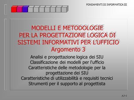 Argomento 3 Analisi e progettazione logica dei SIU