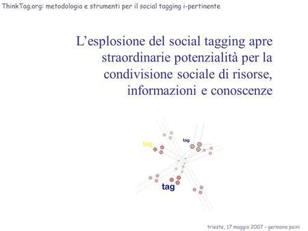Lesplosione del social tagging apre straordinarie potenzialità per la condivisione sociale di risorse, informazioni e conoscenze.