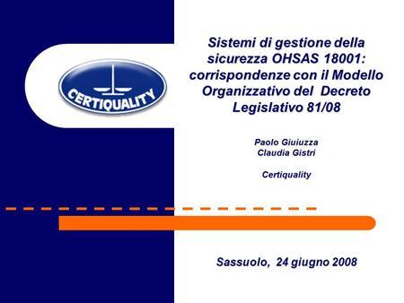 Sistemi di gestione della sicurezza OHSAS 18001:
