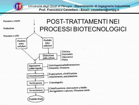 Università degli Studi di Perugia - Dipartimento di Ingegneria Industriale Prof. Francesco Castellani -   POST-TRATTAMENTI NEI.