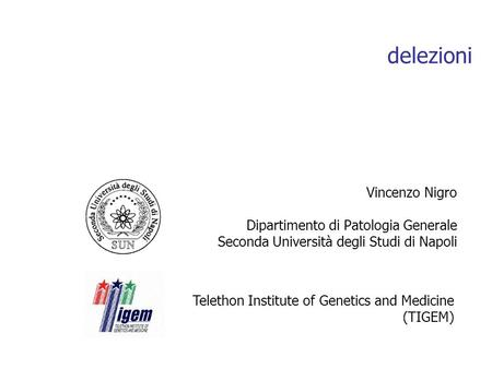 Delezioni Vincenzo Nigro Dipartimento di Patologia Generale Seconda Università degli Studi di Napoli Telethon Institute of Genetics and Medicine (TIGEM)