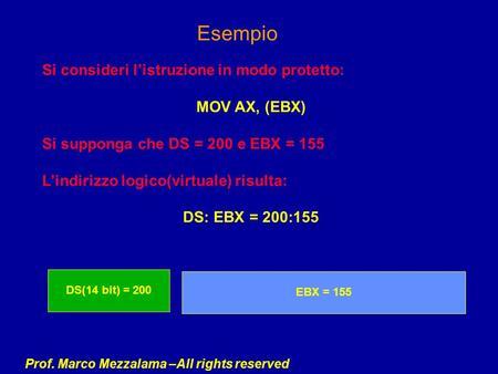 Prof. Marco Mezzalama –All rights reserved Esempio Si consideri listruzione in modo protetto: MOV AX, (EBX) Si supponga che DS = 200 e EBX = 155 Lindirizzo.