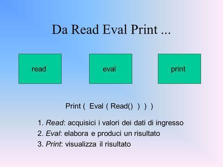 Da Read Eval Print... Print ( Eval ( Read() ) ) ) evalreadprint 1. Read: acquisici i valori dei dati di ingresso 2. Eval: elabora e produci un risultato.
