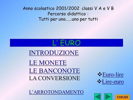 INTRODUZIONE L EURO LE MONETE LE BANCONOTE LA CONVERSIONE LARROTONDAMENTO Anno scolastico 2001/2002 classi V A e V B Percorso didattico : Tutti per uno……uno.